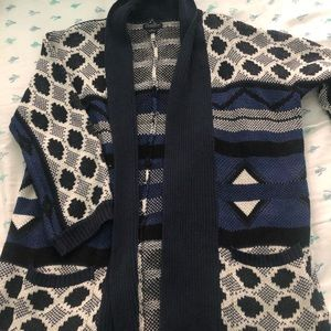 Lucky Brand Blue, Black and White Cotton Sweater